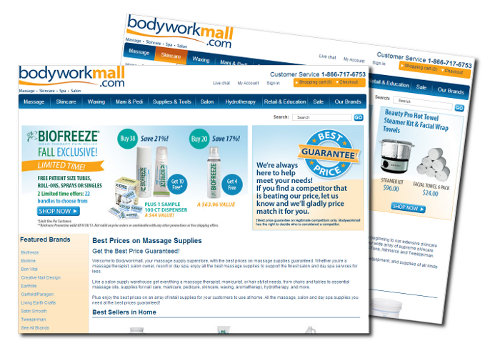 screen shots of bodyworkmall webpages