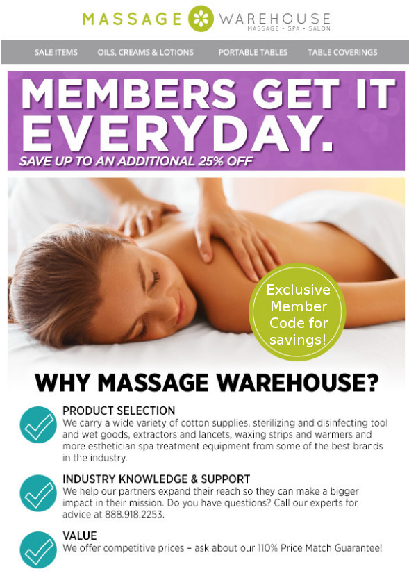 Exclusive member savings with Massage Warehouse!  New member benefit!